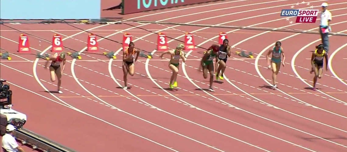 Melissa Breen in her heat of the 100m at the 2015 IAAF World Championships
