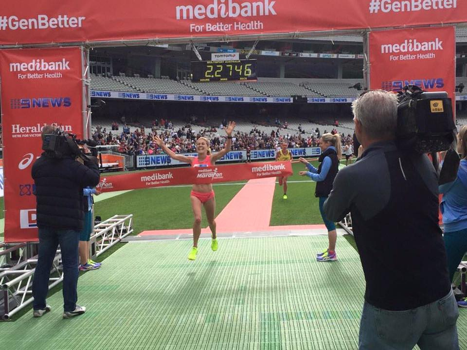 Jess Trengove wins the 2015 Melbourne Marathon PHOTO Team Tempo on Facebook
