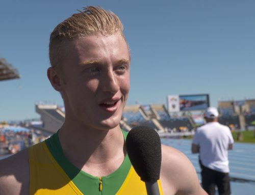 Interview with Jacob McCorry after the 110m Hurdles Heat