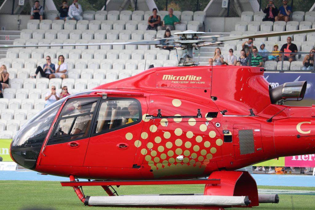 Sebastian Coe sebastian coe Sebastian Coe and Isis Holt Arrive with the Nitro Athletics World Cup helicopter min